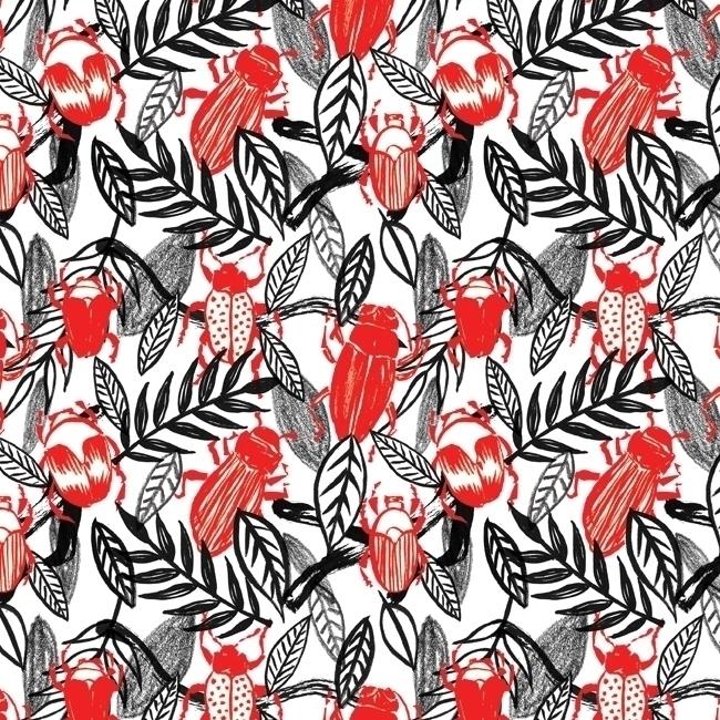 pattern, patterndesign, beetle - stephaniekubo-8873 | ello
