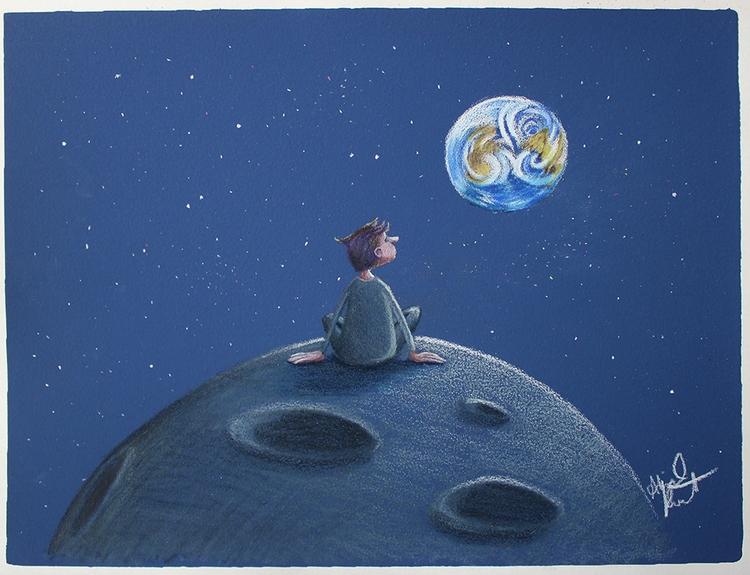 Boy Moon - boy, moon, earth, space - abigailkraft | ello