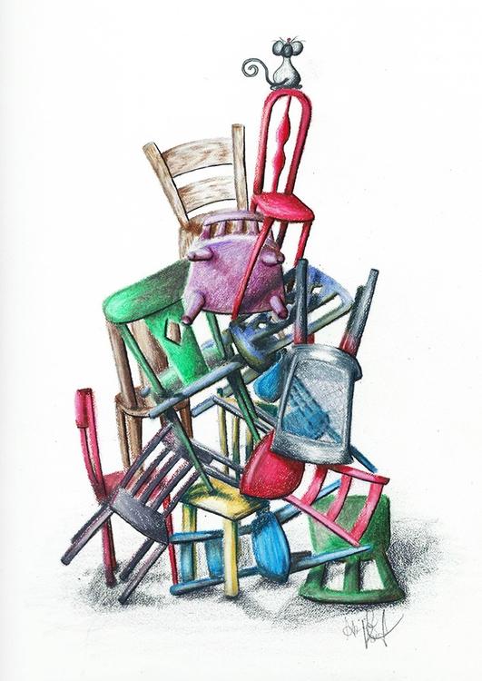 Mess, Mouse - coloredpencil, illustration - abigailkraft   ello