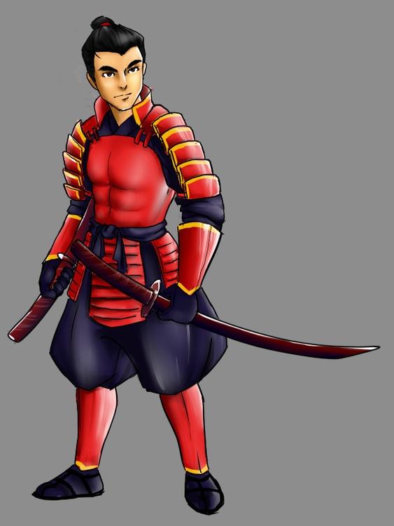 Samurai - illustration, characterdesign - qlink | ello