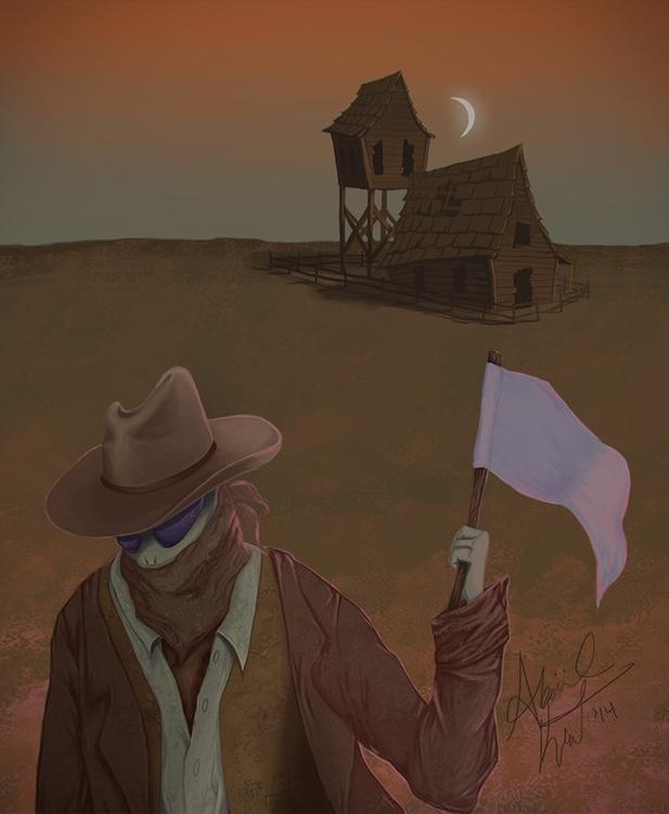 Peace - alien, illustration, western - abigailkraft | ello