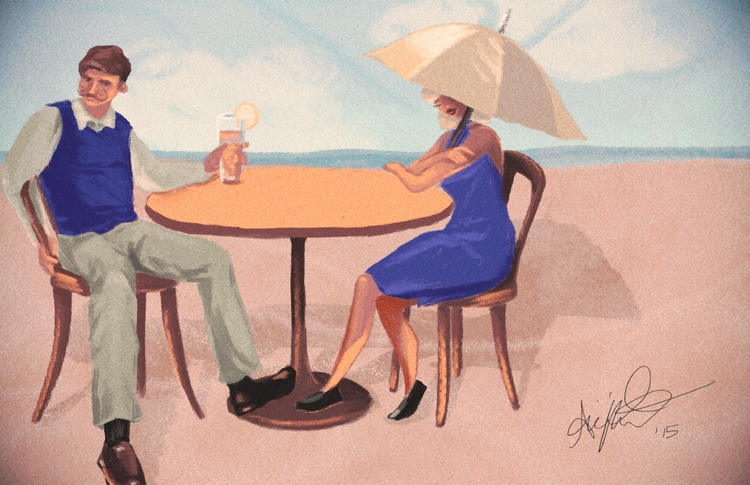 Late Afternoon Drinks - illustration - abigailkraft | ello