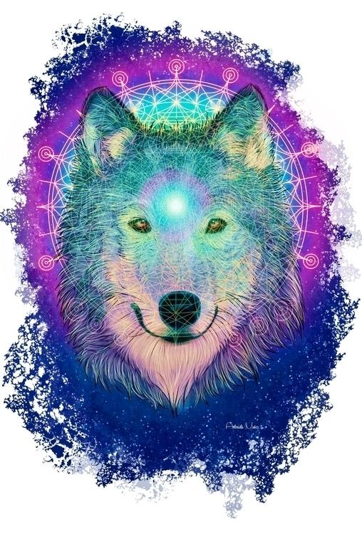 Cosmic Wolf - digitalart, digitalpainting - kuukistudio | ello