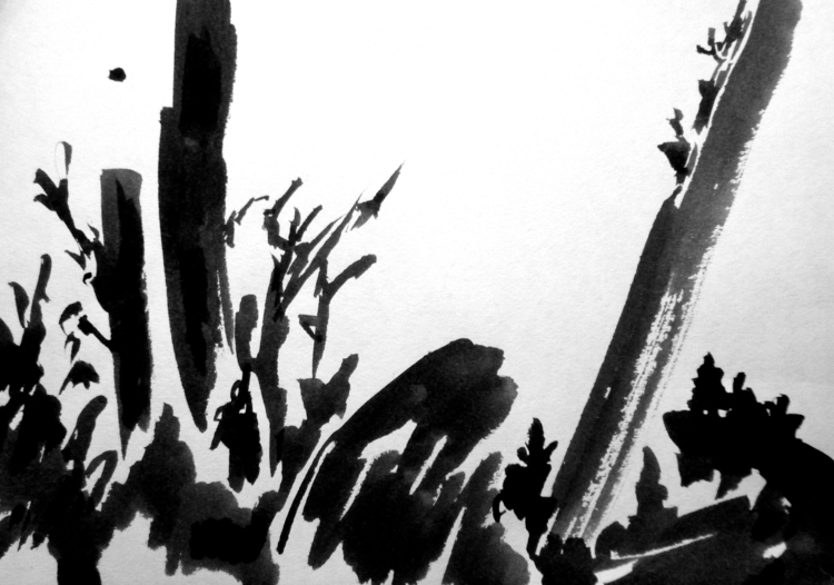 landscape - painting, ink, japanese - macadamiaoil | ello