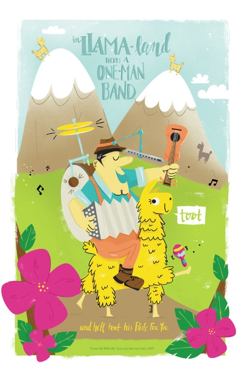 Llama-Land, band toot flute - illustration - michaela-1353 | ello