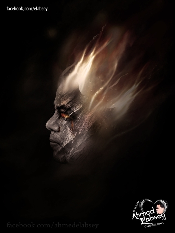 Face fire - illustration, photography - ahmedelabsey | ello