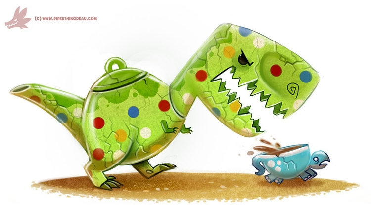 Daily Paint Tea-Rex - 1208. - piperthibodeau | ello