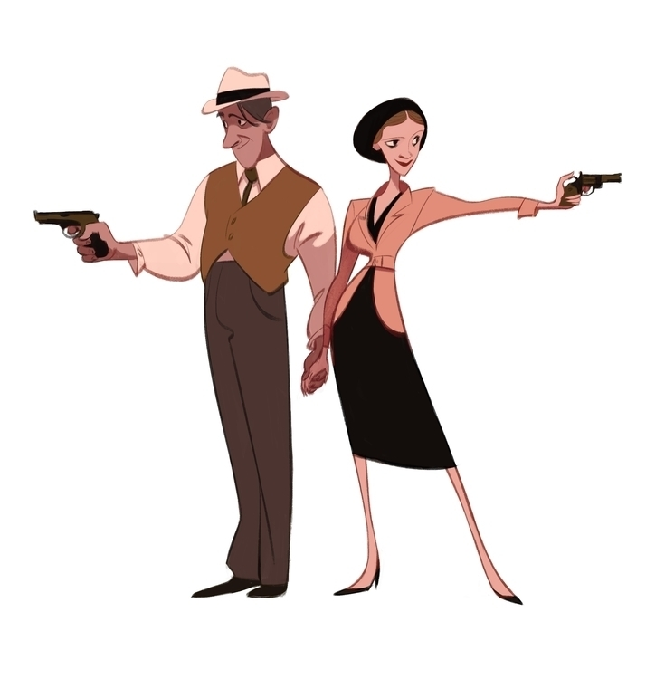Bonnie Clyde - bonnieandclyde, characterdesign - carrececile | ello
