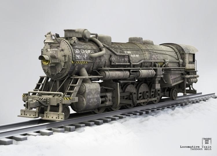 3d, 3dsmax, keyshot, train, locomotive - tanbeenamin | ello