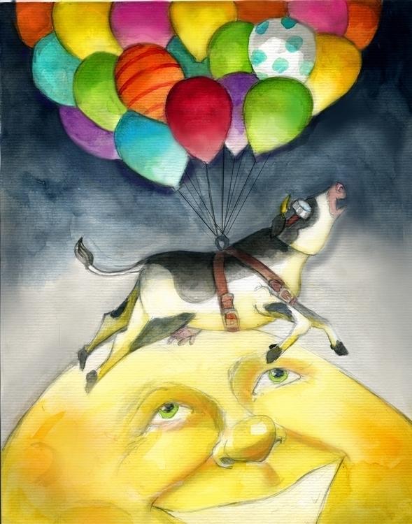 Cow jumps moon - watercolor, #illustration - katie_wools | ello