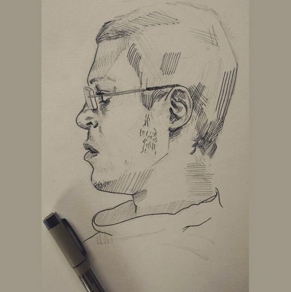 cousin - sketch, micronpen, portrait - josehdz_illustration | ello