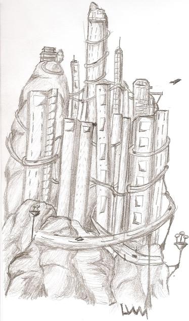 illustration, pencil, city, conceptart - lewm | ello