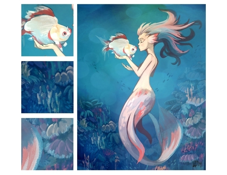 White Goldfish Mermaid - illustration - jayoh28 | ello