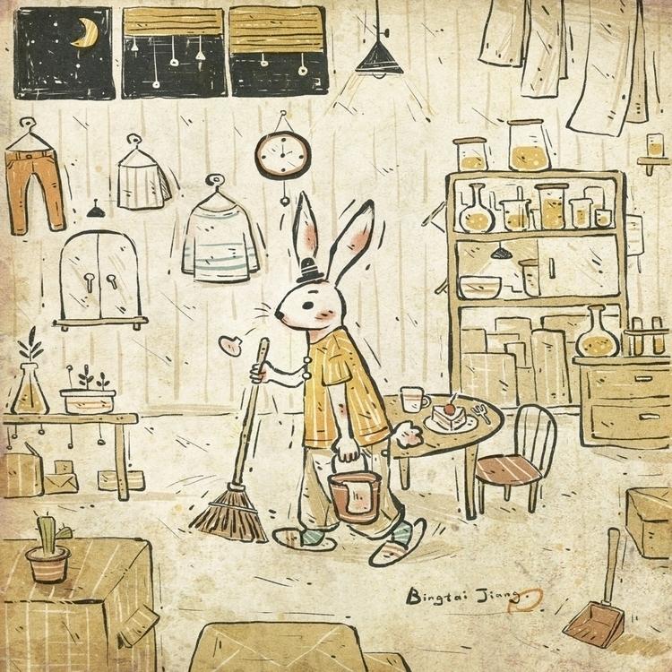 cleaning - rabbit, illustration - bingtai | ello