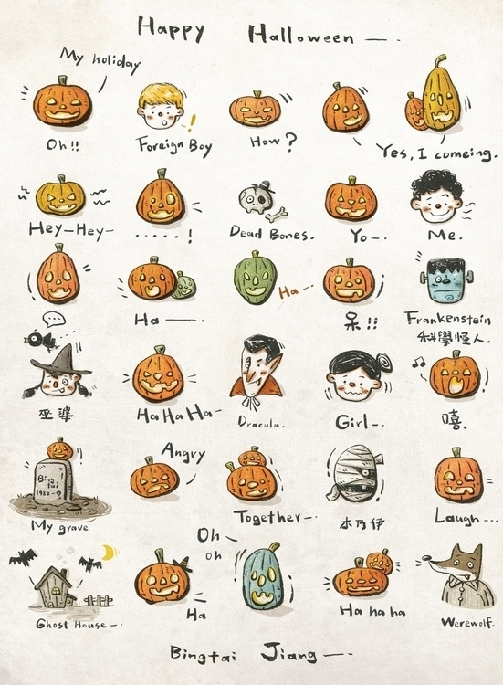 halloween 2014 - illustration, pumpkins - bingtai | ello
