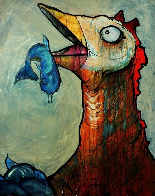 Big Bird 2012 - painting, bird, fish - matjsmoore | ello