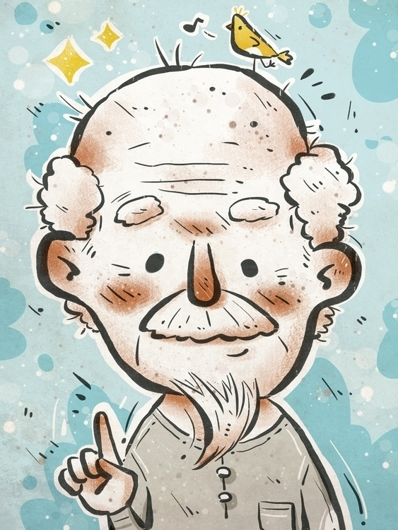 work illustration - man - oldman - bingtai | ello