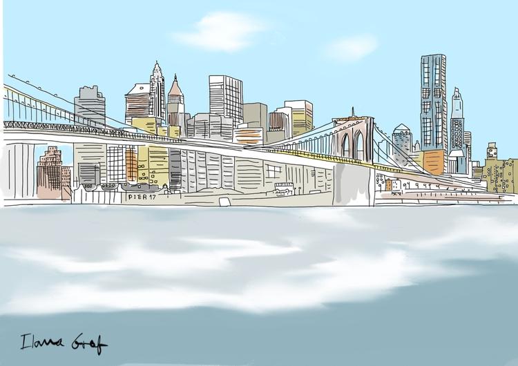 York city view - bridge, Sea, buildings - ilanagraf   ello