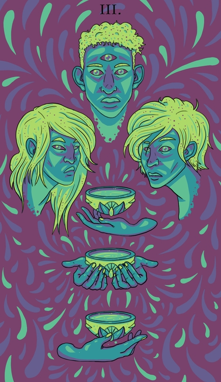 Cups (III - illustration, tarot - wingywonky-5811 | ello