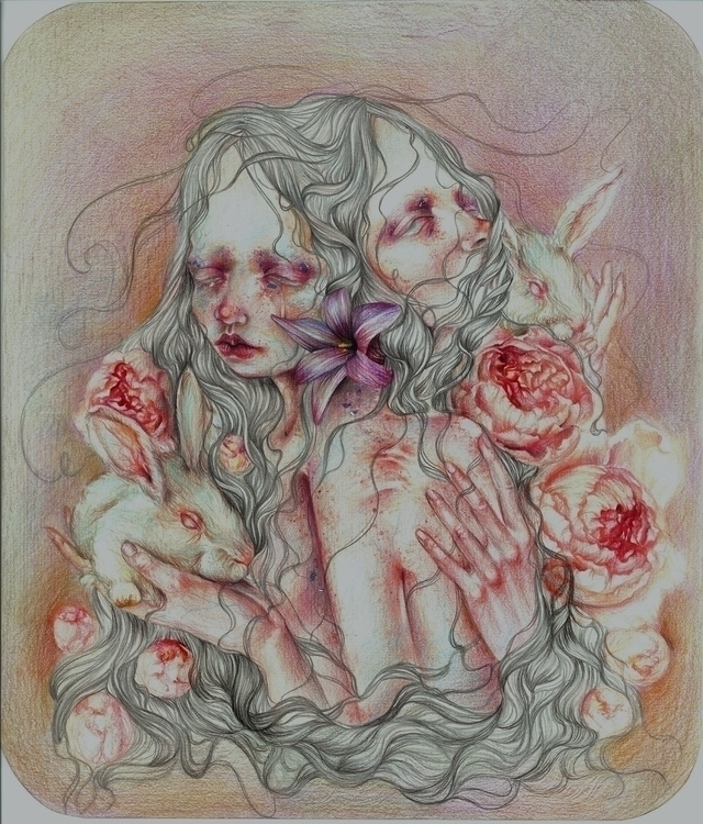 peony, girls, rabbit, popsurrealism - georgiatheologou | ello