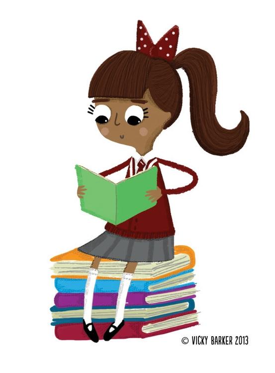 girl, schoolgirl, reading, children'sbook - vickydoodles-4070 | ello