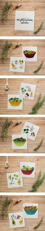 Mediterranean salads - salad#mediterranean#yummy#food#foodillustration#watercolor - anarey | ello