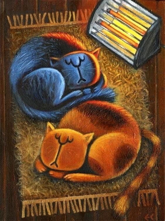 Fat Cats - Acrylic canvas - cats - eddycrosby | ello