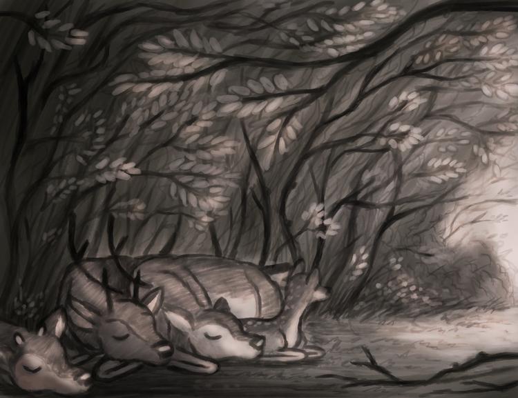 Deer family - illustration, nature - alexjohnston | ello