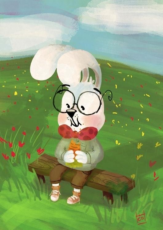 Lunchbreak - bunny, rabbit, lunch - hedif | ello