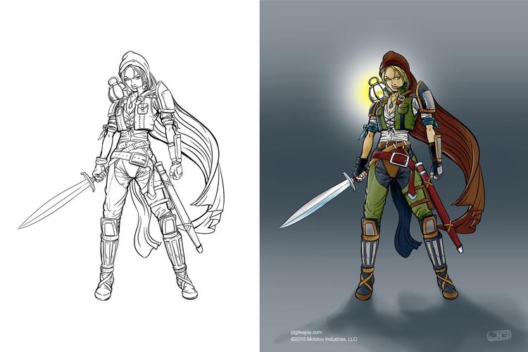 Female warrior - Molotov - conceptart - jgdc | ello