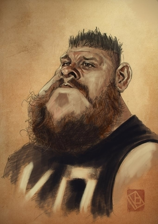 WWE Kevin Owens Caricature sket - khasislieb | ello