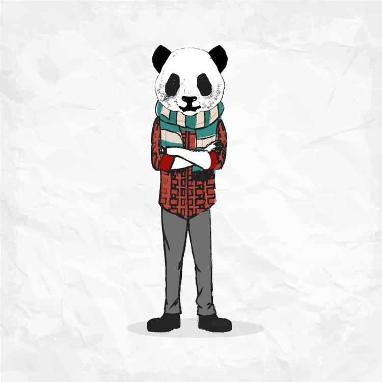 illustration, hipster, panda - bouchwicha | ello