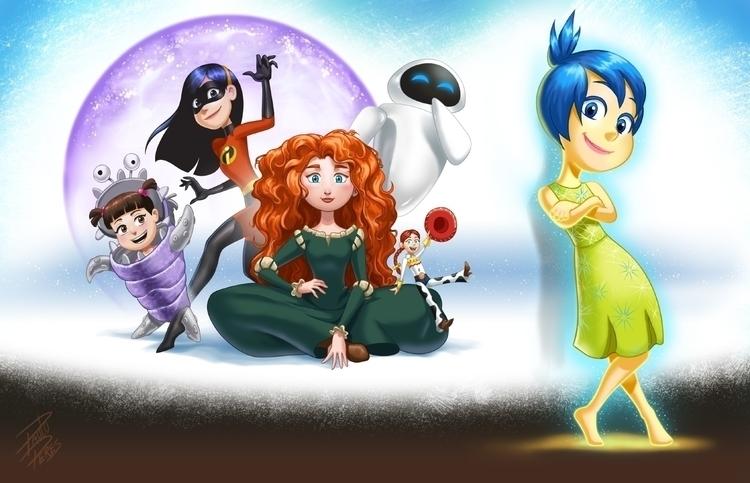 Pixar Girls - illustration, pixar - pauloperes-1547 | ello