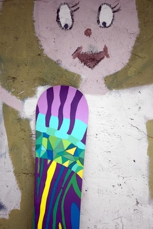 15, painted snowboard skin coat - little_pencil | ello