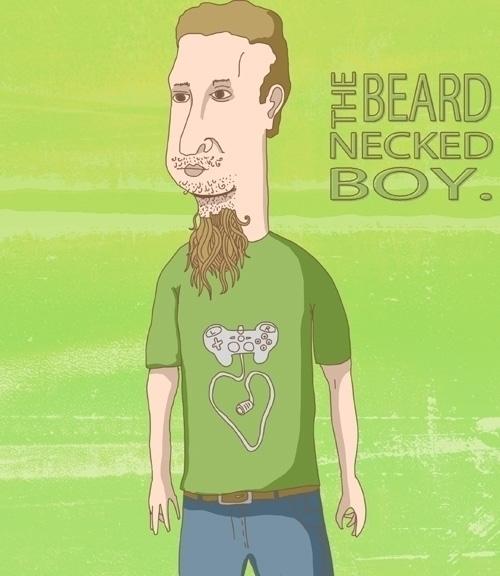beard necked boy - skidoodles, illustration - skidoodles-4532 | ello
