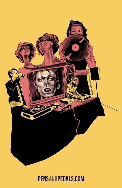 David Bowie Tribute Piece Fall  - pensandpedals   ello