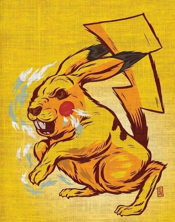Pikachu Thunderstrike - illustration - thomcat23 | ello