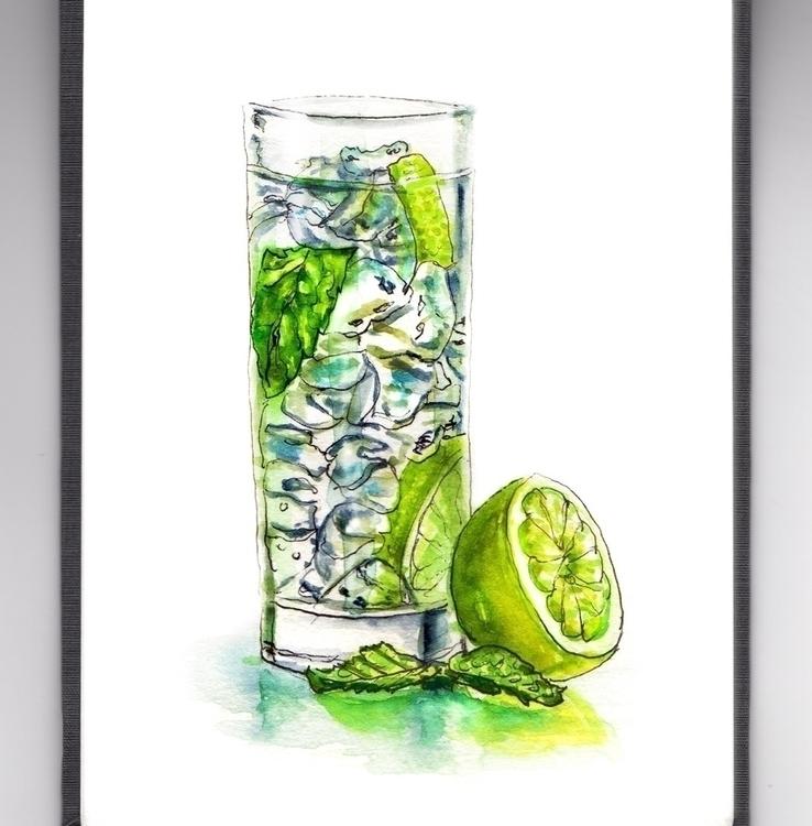 Loving Limes - watercolor, watercolour - doodlewash   ello