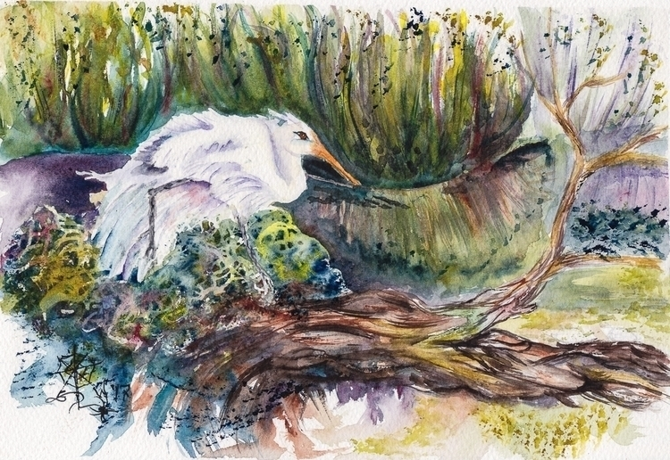 Watercolor Painting - Egret Lag - sephipiderwitch | ello