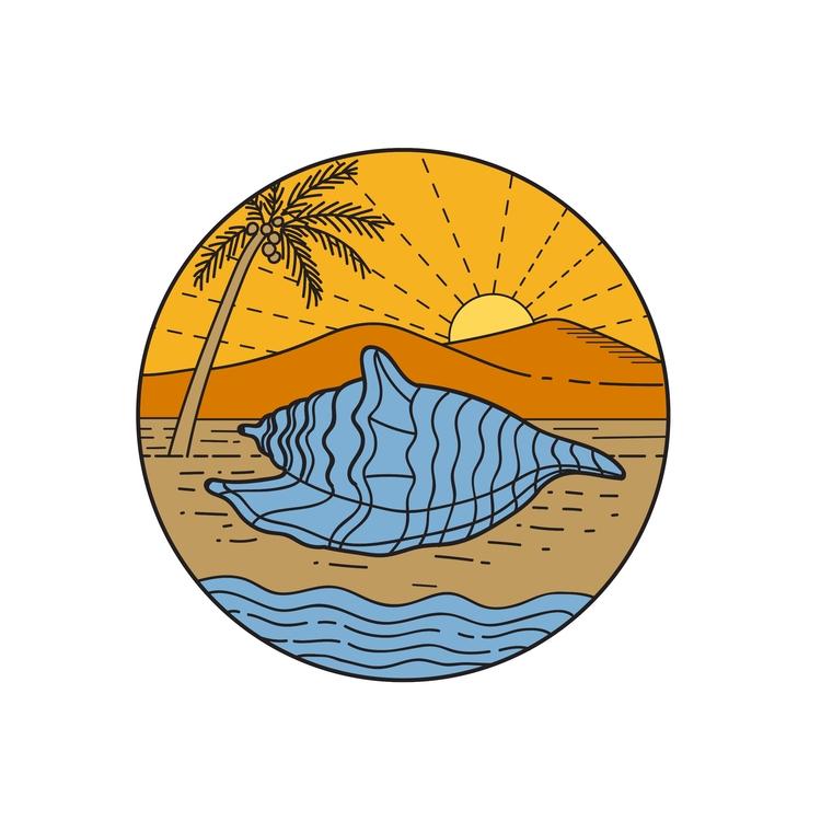 Sun Coconut Tree Mono LIne - Conch - patrimonio | ello