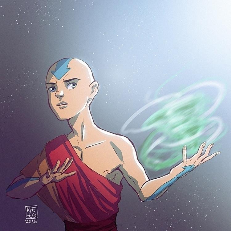 Drew Aang art block - aang, avatarthelastairbender - netocanessa | ello