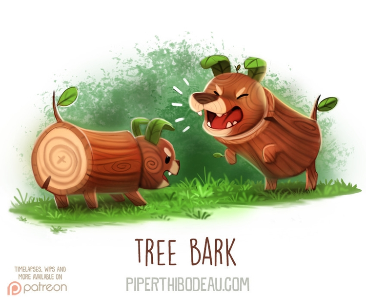 Daily Paint 1617. Tree Bark - piperthibodeau | ello
