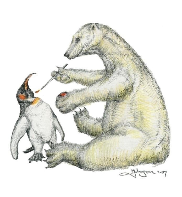 Colour Bear - Markfineartwhimsydrawingpolarbearpenguin - markjohnson-2979   ello