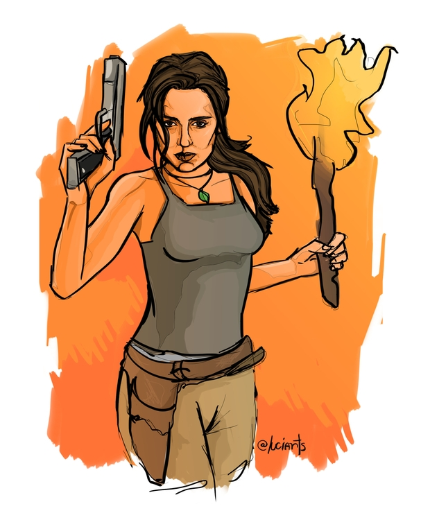 illustration, laracroft, tombraider - lucianaquero | ello