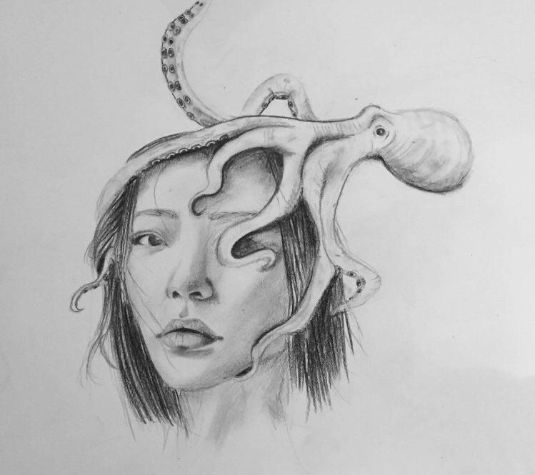 Kind octopus study king pen - sketch - nellie380   ello