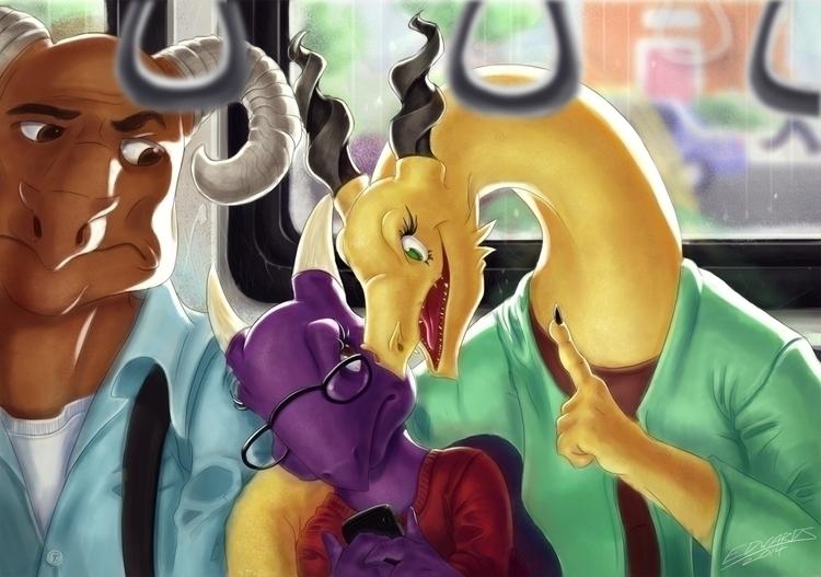 dragon, bus, commute, childrensillustration - puzzgon | ello