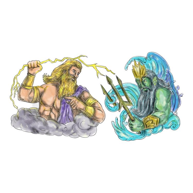 Poseidon - Zeus, Thunderbolt, Trident - patrimonio | ello