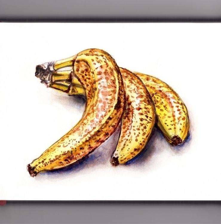Ripe Banana - watercolor, watercolour - doodlewash | ello