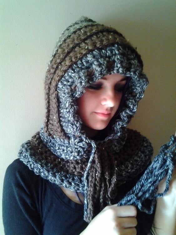 handcrocheted hood. Modeled AJ - gjanney   ello