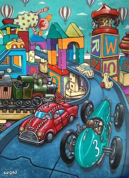 'Toy City' painted acrylics car - wynsexon | ello